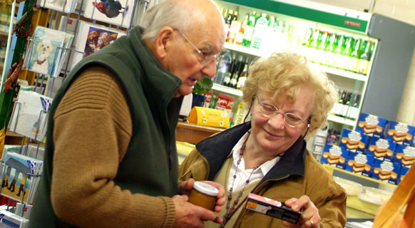 Photograph showing senior citizens shopping at Fenton Barns Farm Shop