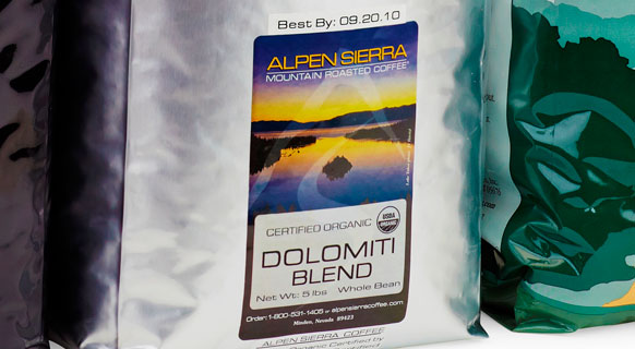 Closeup photograph of a packet of Glenfinlas Coffee