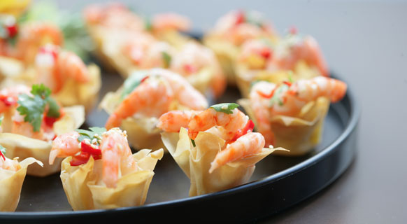 Photograph of prawn canapes served at St Giles' Cathedral Café